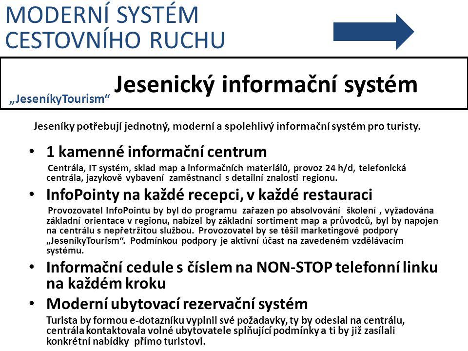 """Jesenický informační systém Jeseníky potřebují jednotný, moderní a spolehlivý informační systém pro turisty. MODERNÍ SYSTÉM CESTOVNÍHO RUCHU """"Jeseníky"""