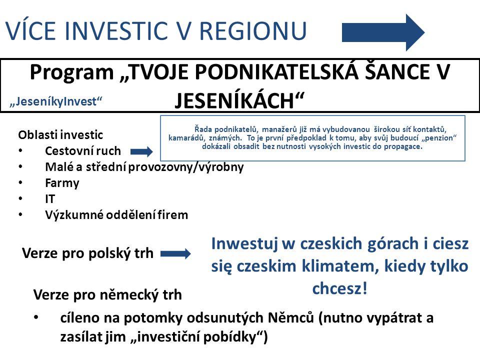 """Program """"TVOJE PODNIKATELSKÁ ŠANCE V JESENÍKÁCH"""" VÍCE INVESTIC V REGIONU Verze pro polský trh """"JeseníkyInvest"""" Verze pro německý trh cíleno na potomky"""