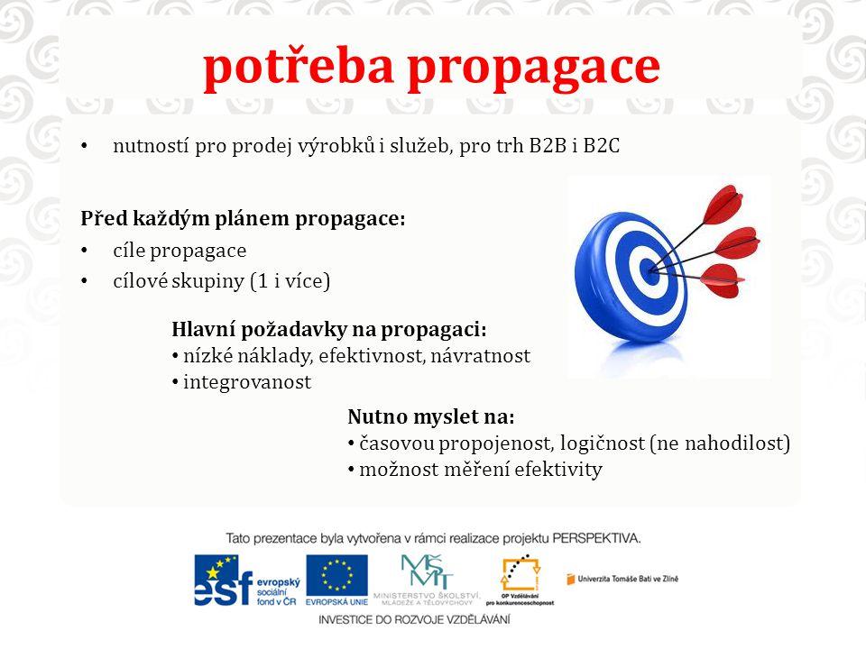 potřeba propagace nutností pro prodej výrobků i služeb, pro trh B2B i B2C Před každým plánem propagace: cíle propagace cílové skupiny (1 i více) Nutno