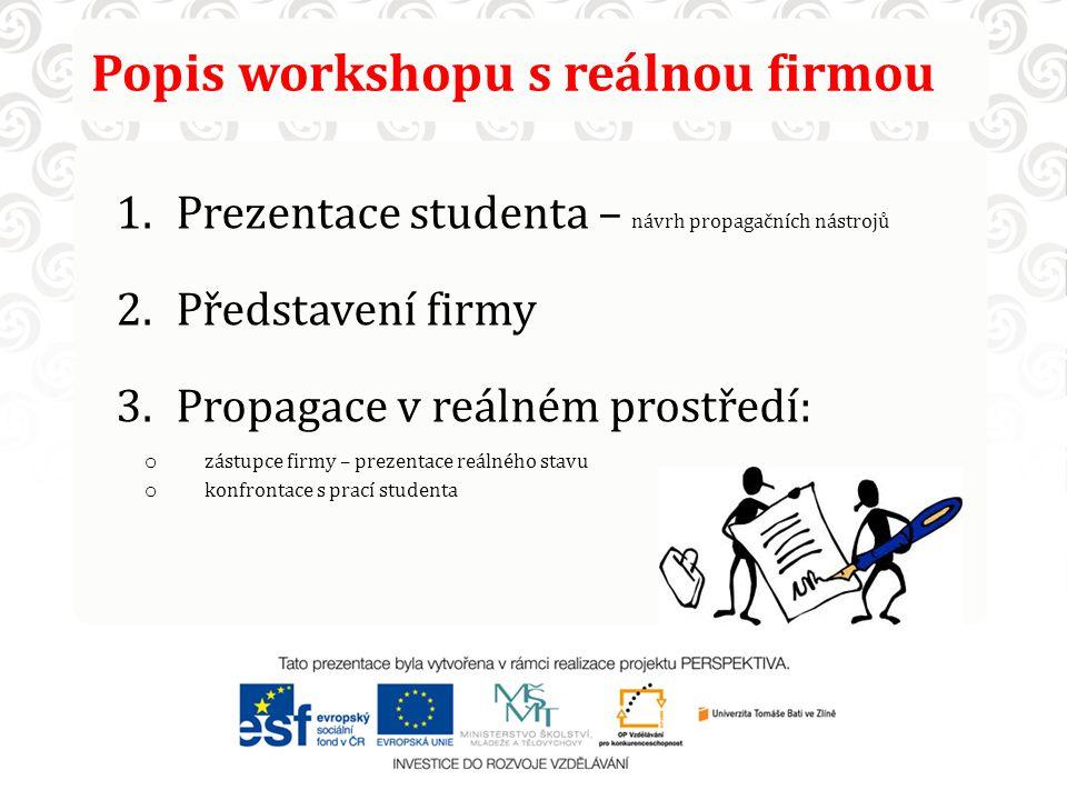Popis workshopu s reálnou firmou 1.Prezentace studenta – návrh propagačních nástrojů 2.Představení firmy 3.Propagace v reálném prostředí: o zástupce f