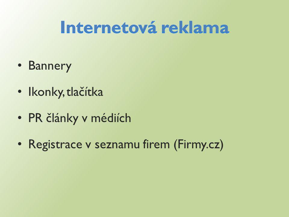Bannery Ikonky, tlačítka PR články v médiích Registrace v seznamu firem (Firmy.cz)