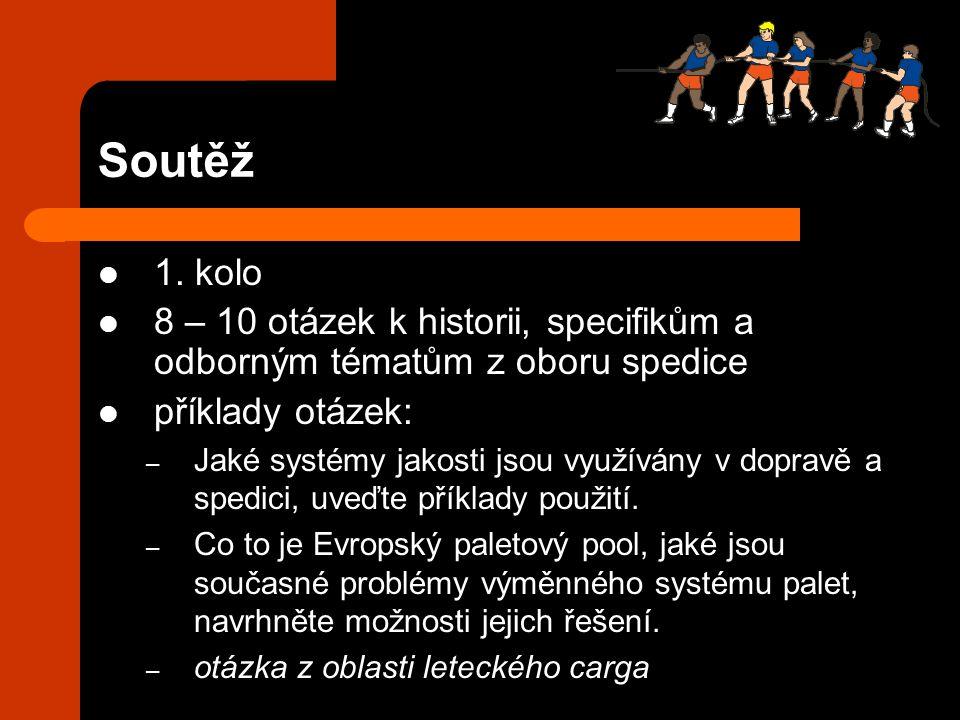 Soutěž 1. kolo 8 – 10 otázek k historii, specifikům a odborným tématům z oboru spedice příklady otázek: – Jaké systémy jakosti jsou využívány v doprav
