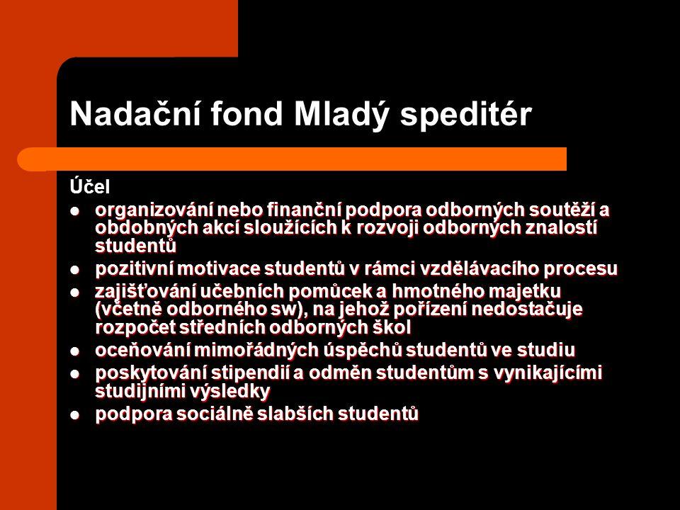 Nadační fond Mladý speditér Účel organizování nebo finanční podpora odborných soutěží a obdobných akcí sloužících k rozvoji odborných znalostí student