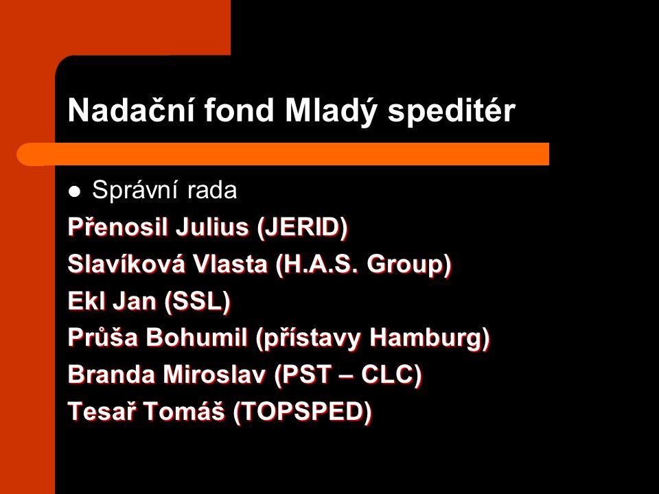 Nadační fond Mladý speditér Správní rada Přenosil Julius (JERID) Slavíková Vlasta (H.A.S. Group) Ekl Jan (SSL) Průša Bohumil (přístavy Hamburg) Branda