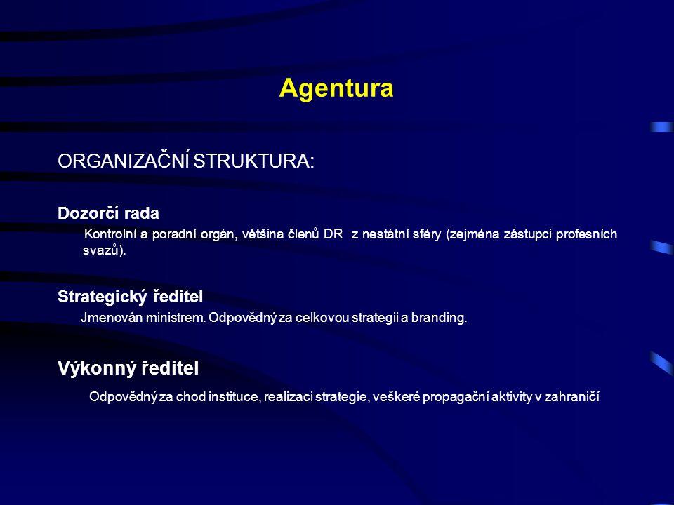 Agentura ORGANIZAČNÍ STRUKTURA: Dozorčí rada Kontrolní a poradní orgán, většina členů DR z nestátní sféry (zejména zástupci profesních svazů). Strateg