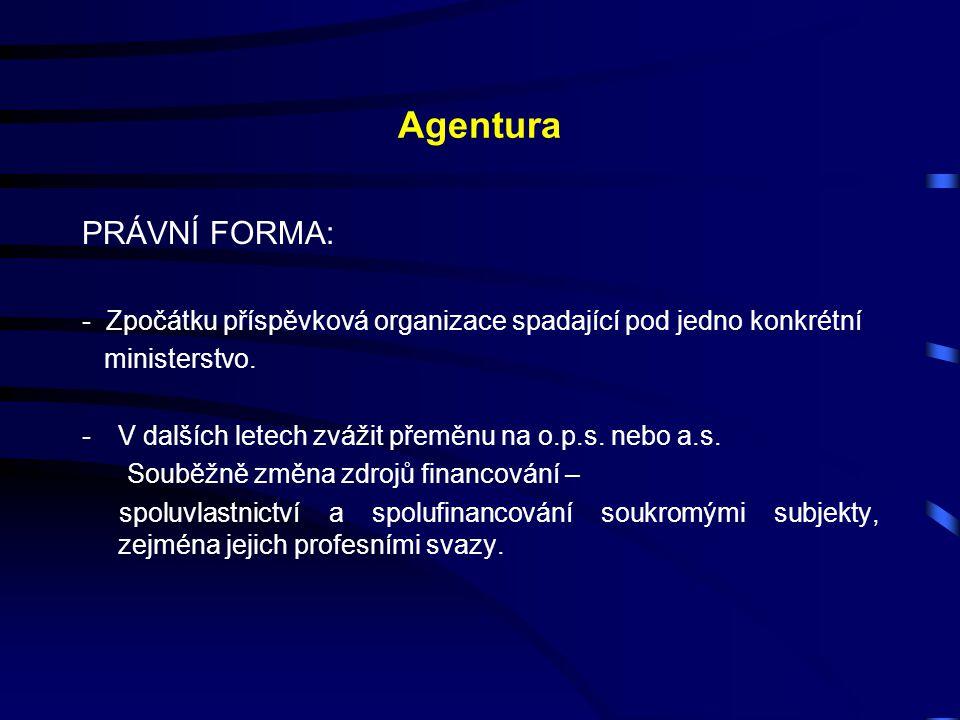 Agentura PRÁVNÍ FORMA: - Zpočátku příspěvková organizace spadající pod jedno konkrétní ministerstvo. -V dalších letech zvážit přeměnu na o.p.s. nebo a