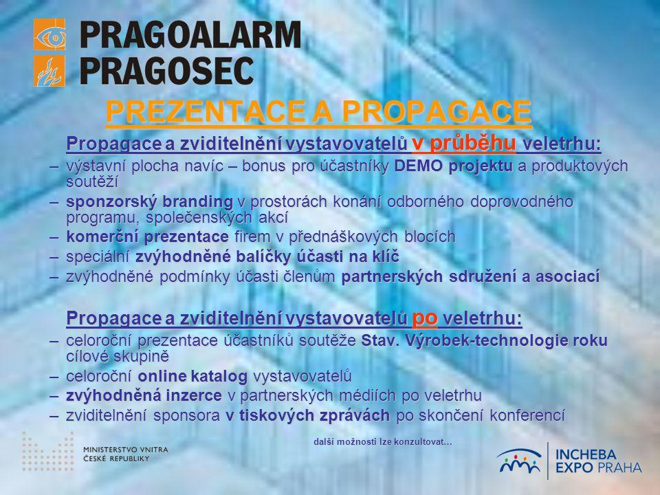 PREZENTACE A PROPAGACE Propagace a zviditelnění vystavovatelů v průběhu veletrhu: –výstavní plocha navíc – bonus pro účastníky DEMO projektu a produktových soutěží –sponzorský branding v prostorách konání odborného doprovodného programu, společenských akcí –komerční prezentace firem v přednáškových blocích –speciální zvýhodněné balíčky účasti na klíč –zvýhodněné podmínky účasti členům partnerských sdružení a asociací Propagace a zviditelnění vystavovatelů po veletrhu: –celoroční prezentace účastníků soutěže Stav.