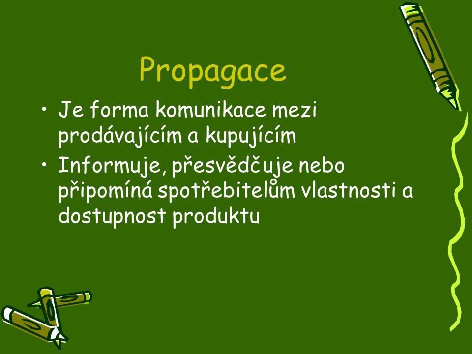 Propagace Je forma komunikace mezi prodávajícím a kupujícím Informuje, přesvědčuje nebo připomíná spotřebitelům vlastnosti a dostupnost produktu