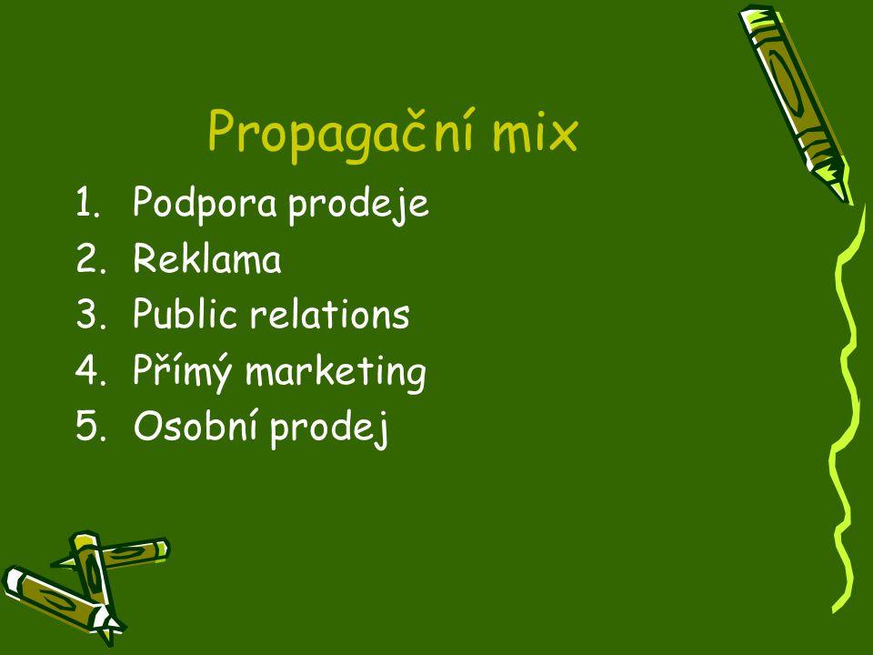 Propagační mix 1.Podpora prodeje 2.Reklama 3.Public relations 4.Přímý marketing 5.Osobní prodej