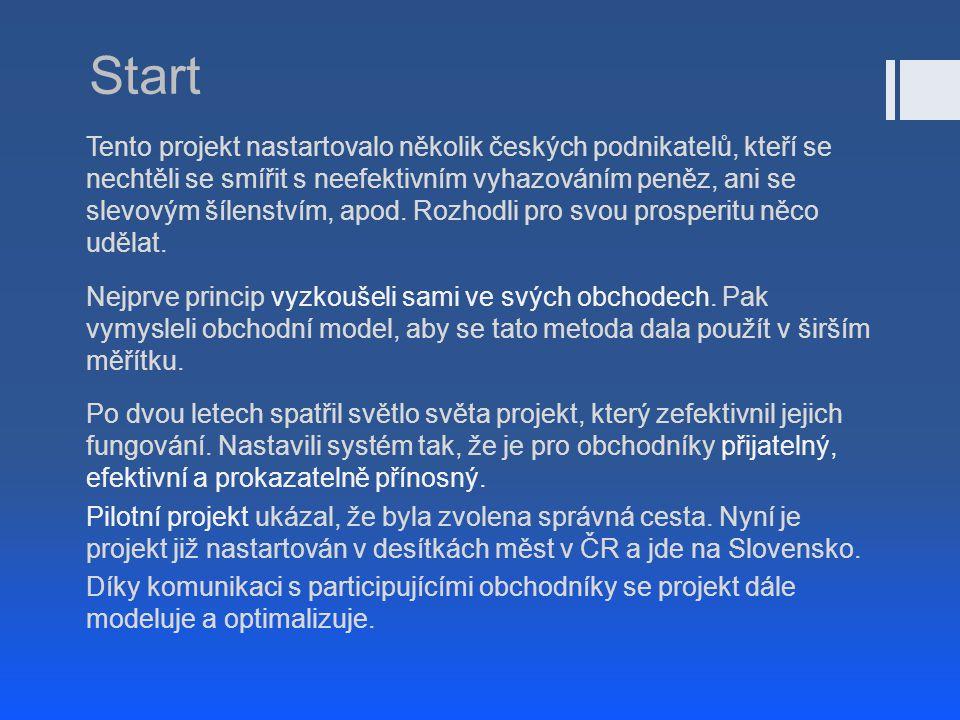 Start Tento projekt nastartovalo několik českých podnikatelů, kteří se nechtěli se smířit s neefektivním vyhazováním peněz, ani se slevovým šílenstvím