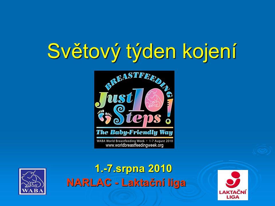 Světový týden kojení 1.-7.srpna 2010 1.-7.srpna 2010 NARLAC - Laktační liga NARLAC - Laktační liga