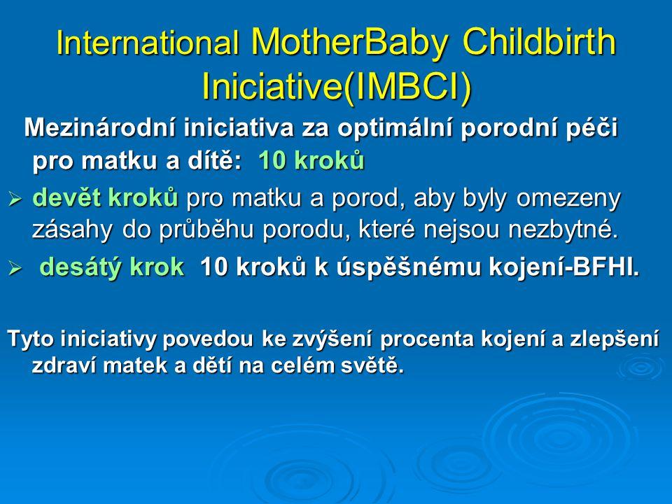 International MotherBaby Childbirth Iniciative(IMBCI) Mezinárodní iniciativa za optimální porodní péči pro matku a dítě: 10 kroků Mezinárodní iniciativa za optimální porodní péči pro matku a dítě: 10 kroků  devět kroků pro matku a porod, aby byly omezeny zásahy do průběhu porodu, které nejsou nezbytné.