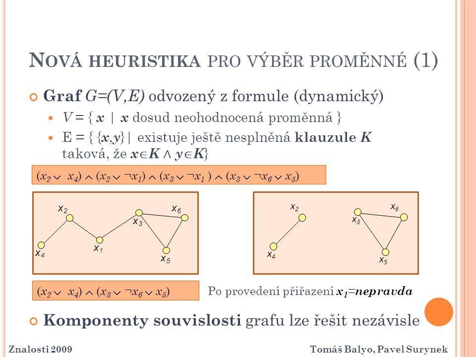 N OVÁ HEURISTIKA PRO VÝBĚR PROMĚNNÉ (2) Chceme udržovat znalost o komponentách souvislosti odvozeného grafu Proměnné k ohodnocení budeme vybírat ze stejné komponenty souvislosti Prohledávání omezíme pouze na danou komponentu souvislosti Př.: dvě stejně velké komponenty … složitost 2  V   2  V /2 Explicitní udržování znalosti o komponentách je příliš časově náročné Vybíráme vždy neohodnocenou proměnnou z klauzule, kde naposledy proběhla jednotková propagace.