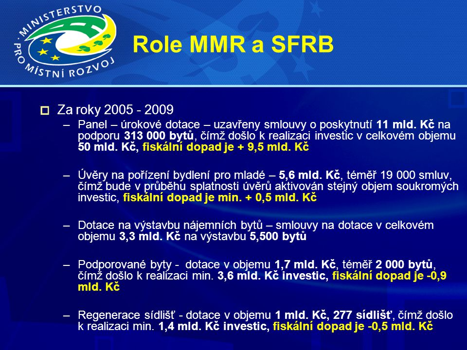 Role MMR a SFRB Za roky 2005 - 2009 –Panel – úrokové dotace – uzavřeny smlouvy o poskytnutí 11 mld.