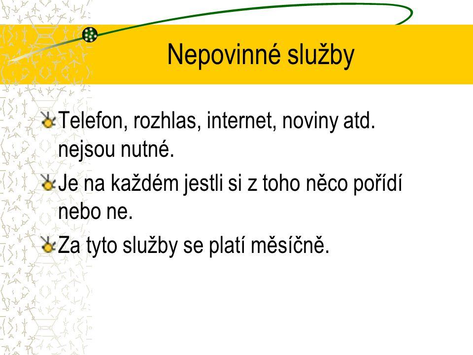 Nepovinné služby Telefon, rozhlas, internet, noviny atd. nejsou nutné. Je na každém jestli si z toho něco pořídí nebo ne. Za tyto služby se platí měsí