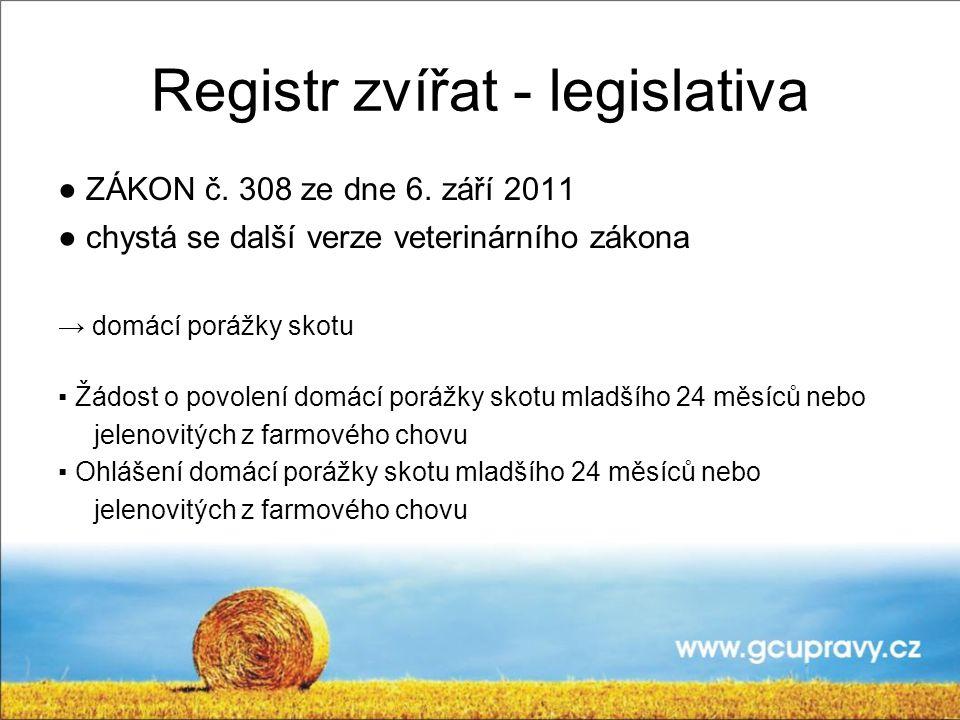Registr zvířat - legislativa ● ZÁKON č. 308 ze dne 6. září 2011 ● chystá se další verze veterinárního zákona → domácí porážky skotu ▪ Žádost o povolen