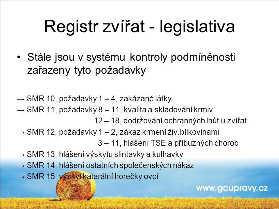 Registr zvířat - legislativa Stále jsou v systému kontroly podmíněnosti zařazeny tyto požadavky → SMR 10, požadavky 1 – 4, zakázané látky → SMR 11, po