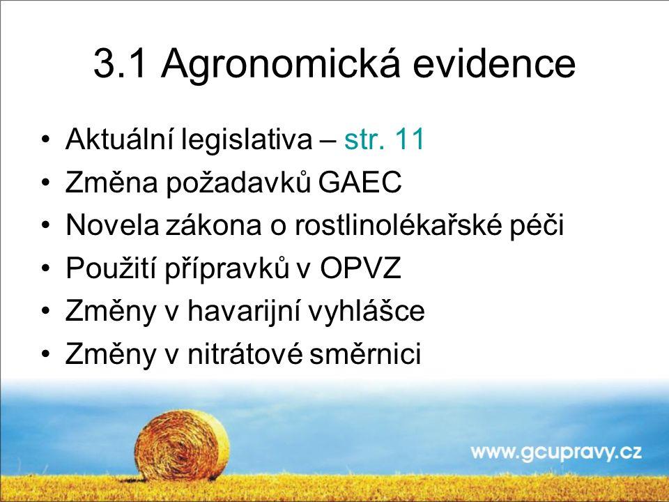 3.1 Agronomická evidence Aktuální legislativa – str. 11 Změna požadavků GAEC Novela zákona o rostlinolékařské péči Použití přípravků v OPVZ Změny v ha