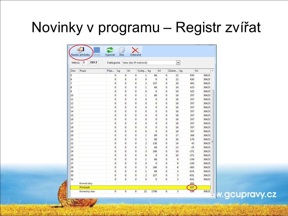 Novinky v programu – Registr zvířat