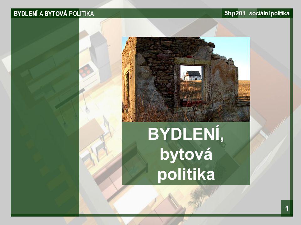 BYDLENÍ A BYTOVÁ POLITIKA 5hp201 sociální politika 1 BYDLENÍ, bytová politika