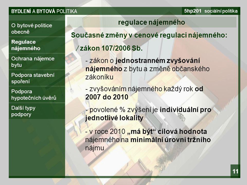BYDLENÍ A BYTOVÁ POLITIKA 5hp201 sociální politika 11 O bytové politice obecně regulace nájemného Regulace nájemného Ochrana nájemce bytu Podpora stav