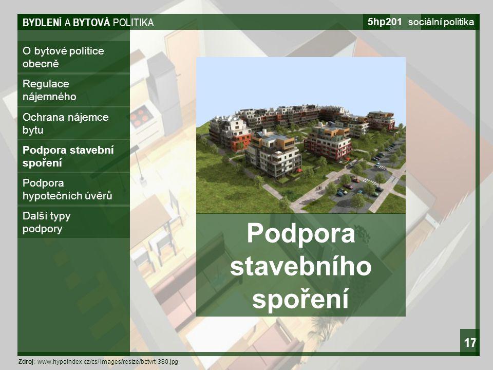 BYDLENÍ A BYTOVÁ POLITIKA 5hp201 sociální politika 17 O bytové politice obecně Regulace nájemného Ochrana nájemce bytu Podpora stavební spoření Podpor