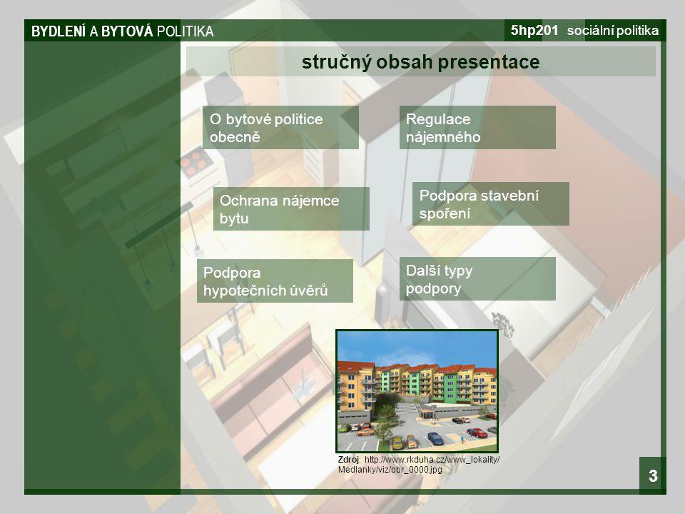 BYDLENÍ A BYTOVÁ POLITIKA 5hp201 sociální politika 3 O bytové politice obecně stručný obsah presentace Regulace nájemného Ochrana nájemce bytu Podpora