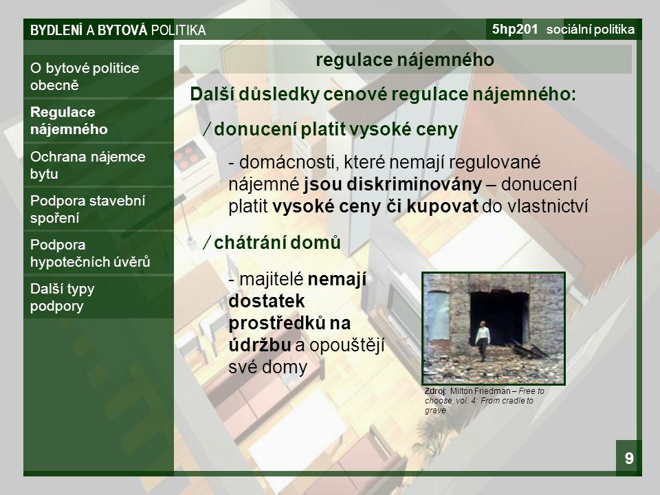 BYDLENÍ A BYTOVÁ POLITIKA 5hp201 sociální politika 9 O bytové politice obecně regulace nájemného Regulace nájemného Ochrana nájemce bytu Podpora stave