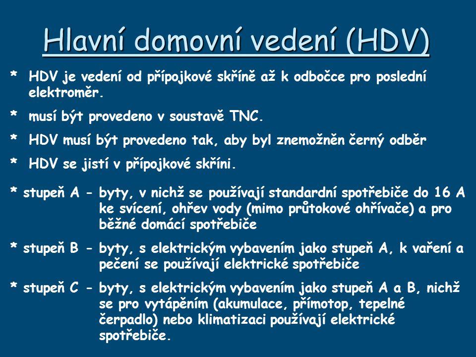 Hlavní domovní vedení (HDV) * HDV je vedení od přípojkové skříně až k odbočce pro poslední elektroměr.