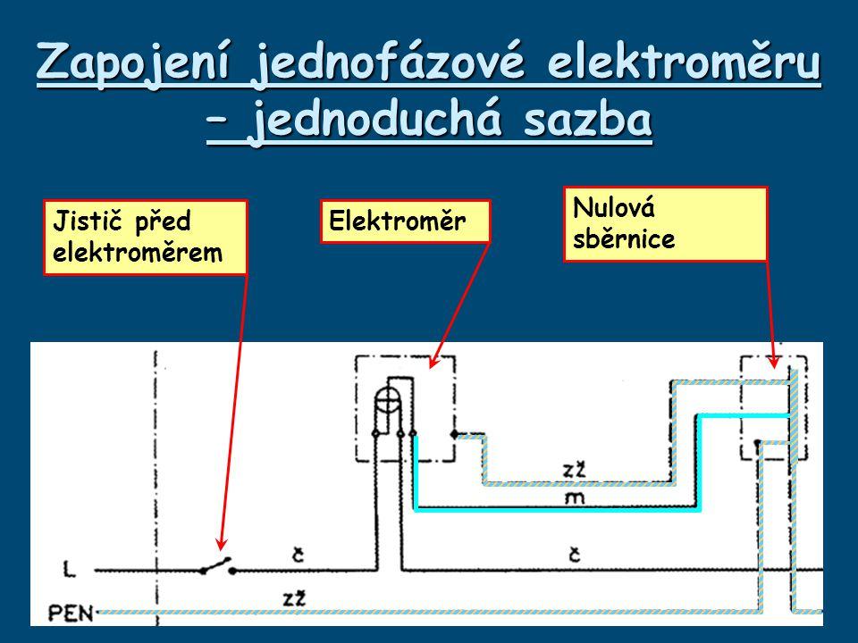 Zapojení jednofázové elektroměru – jednoduchá sazba Jistič před elektroměrem Elektroměr Nulová sběrnice