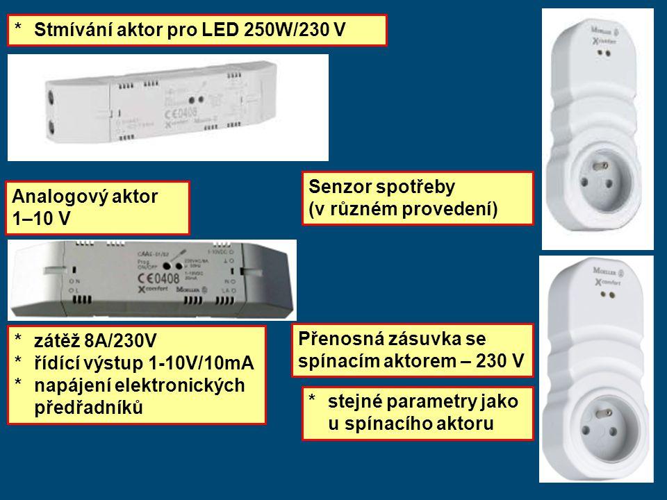 * Stmívání aktor pro LED 250W/230 V Senzor spotřeby (v různém provedení) Přenosná zásuvka se spínacím aktorem – 230 V * stejné parametry jako u spínacího aktoru Analogový aktor 1–10 V * zátěž 8A/230V *řídící výstup 1-10V/10mA *napájení elektronických předřadníků