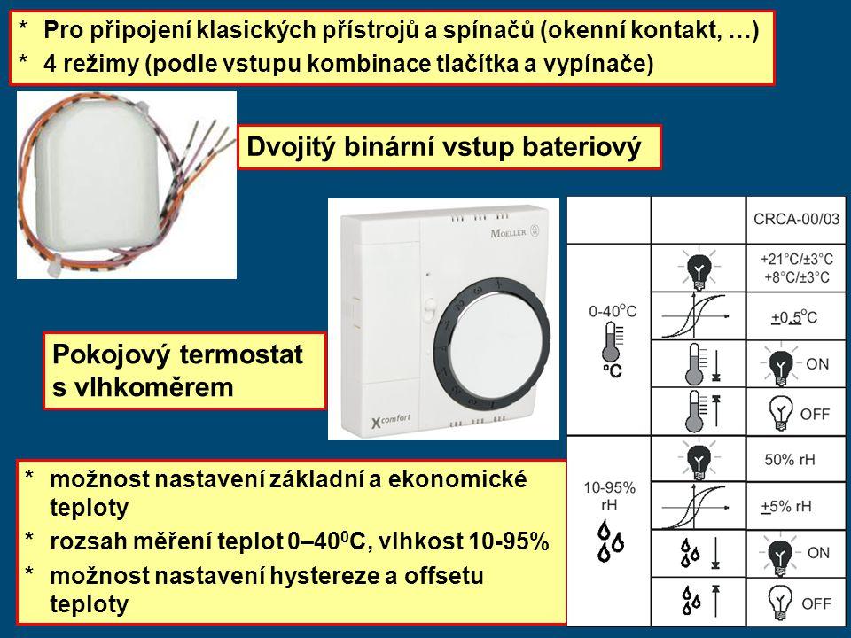 * Pro připojení klasických přístrojů a spínačů (okenní kontakt, …) *4 režimy (podle vstupu kombinace tlačítka a vypínače) Pokojový termostat s vlhkoměrem * možnost nastavení základní a ekonomické teploty *rozsah měření teplot 0–40 0 C, vlhkost 10-95% *možnost nastavení hystereze a offsetu teploty Dvojitý binární vstup bateriový