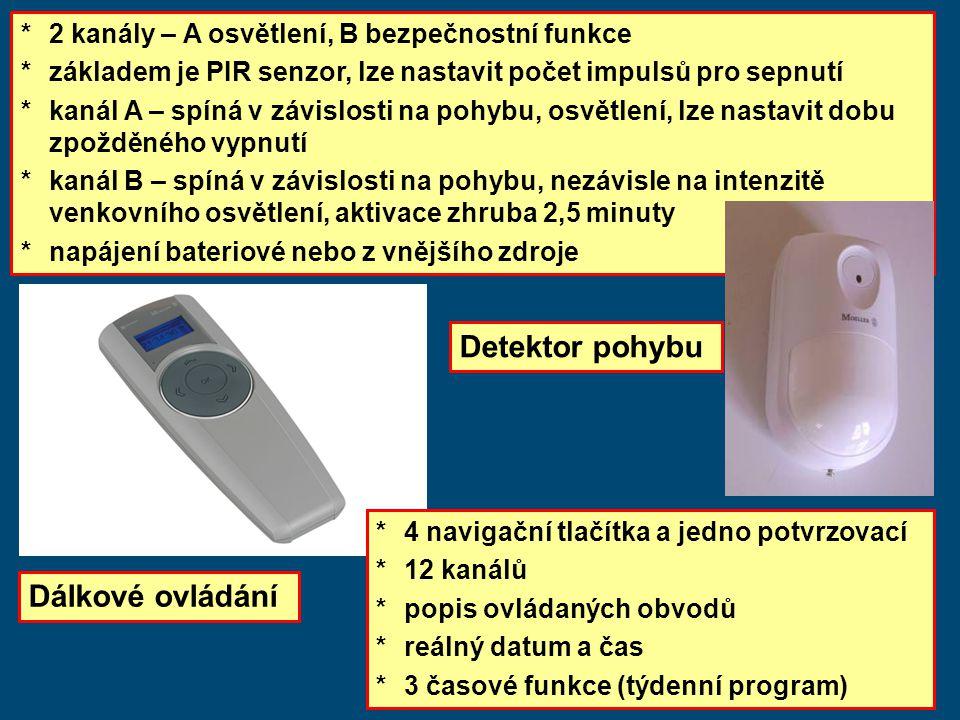 * 2 kanály – A osvětlení, B bezpečnostní funkce *základem je PIR senzor, lze nastavit počet impulsů pro sepnutí *kanál A – spíná v závislosti na pohybu, osvětlení, lze nastavit dobu zpožděného vypnutí *kanál B – spíná v závislosti na pohybu, nezávisle na intenzitě venkovního osvětlení, aktivace zhruba 2,5 minuty *napájení bateriové nebo z vnějšího zdroje *4 navigační tlačítka a jedno potvrzovací *12 kanálů *popis ovládaných obvodů *reálný datum a čas *3 časové funkce (týdenní program) Detektor pohybu Dálkové ovládání