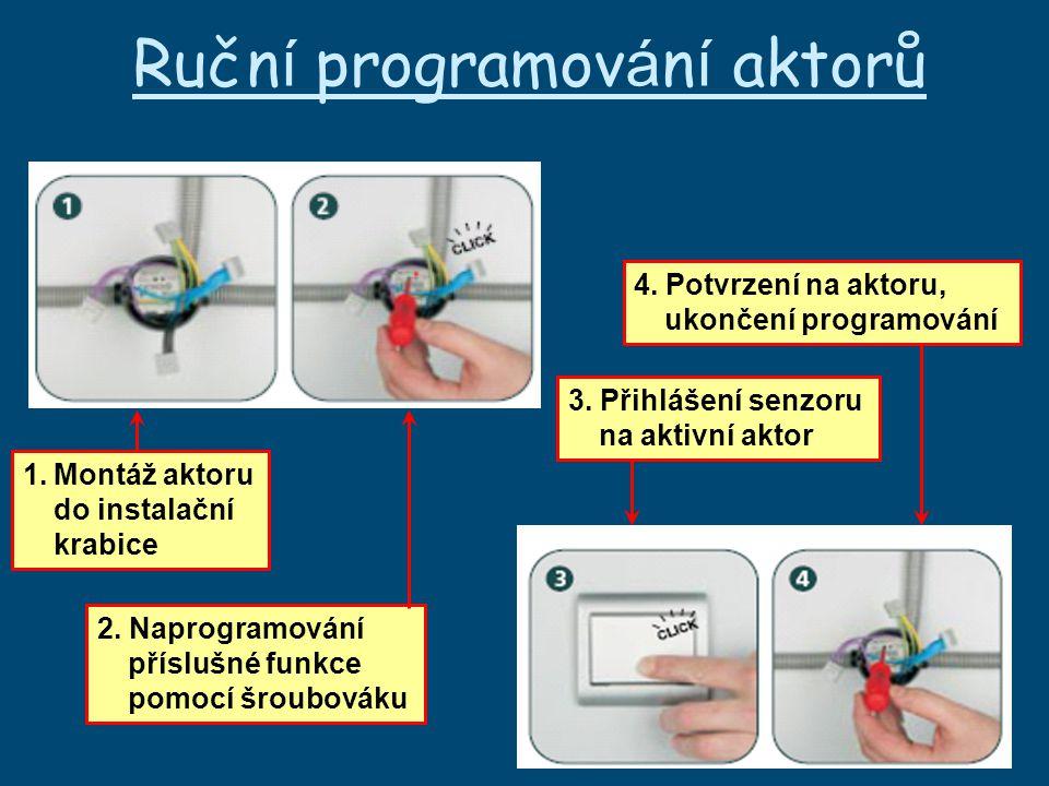 Ručn í programov á n í aktorů 1.Montáž aktoru do instalační krabice 2.