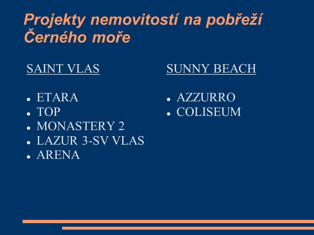 Projekty nemovitostí na pobřeží Černého moře SAINT VLAS ETARA TOP MONASTERY 2 LAZUR 3-SV VLAS ARENA SUNNY BEACH AZZURRO COLISEUM