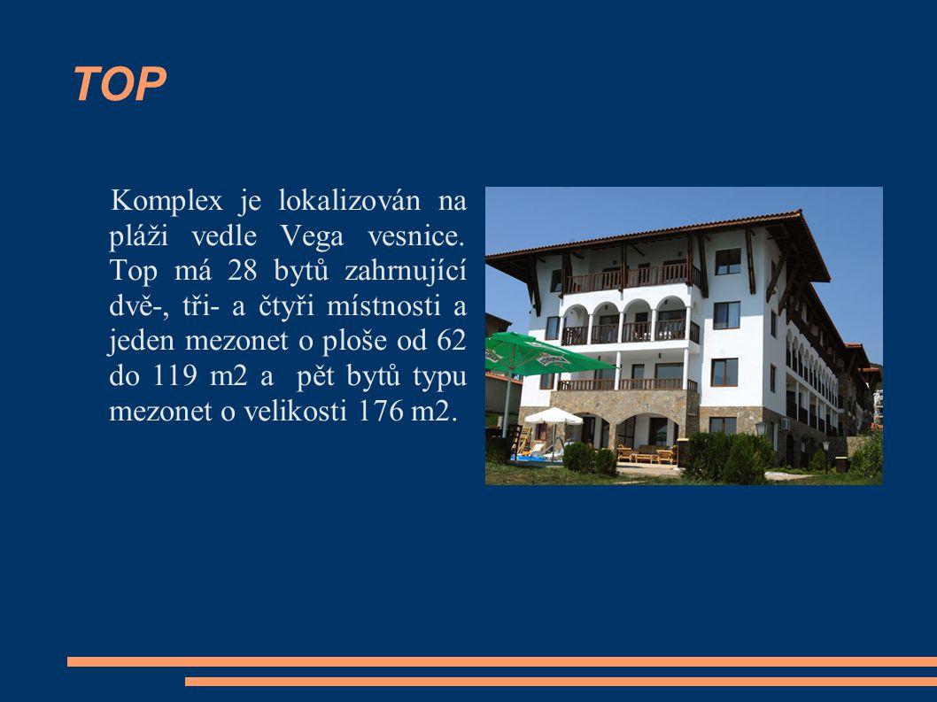 TOP Komplex je lokalizován na pláži vedle Vega vesnice. Top má 28 bytů zahrnující dvě-, tři- a čtyři místnosti a jeden mezonet o ploše od 62 do 119 m2