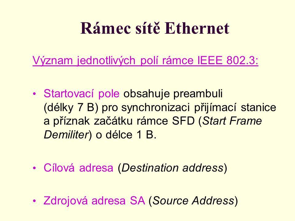 Rámec sítě Ethernet Význam jednotlivých polí rámce IEEE 802.3: Startovací pole obsahuje preambuli (délky 7 B) pro synchronizaci přijímací stanice a př