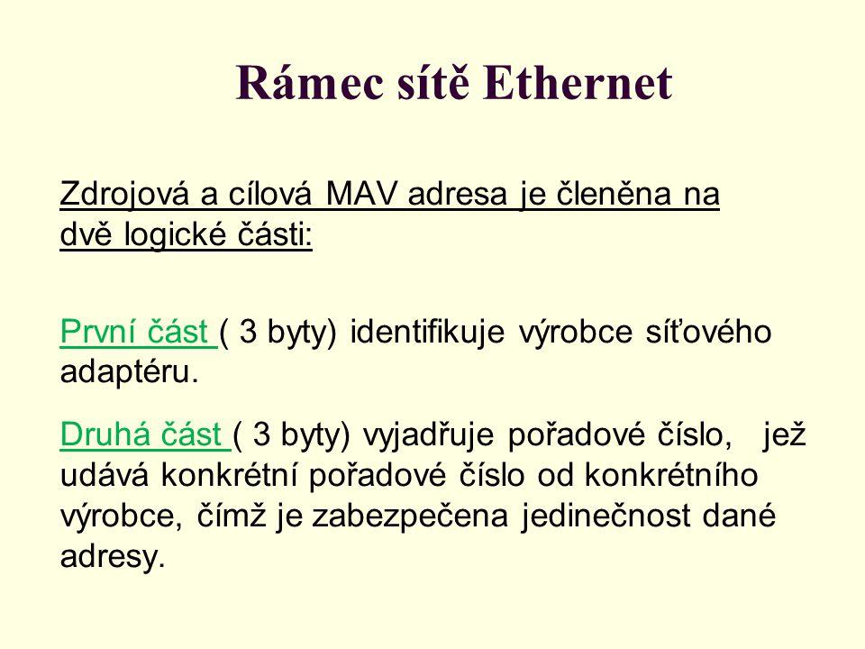 Rámec sítě Ethernet Zdrojová a cílová MAV adresa je členěna na dvě logické části: První část ( 3 byty) identifikuje výrobce síťového adaptéru. Druhá č