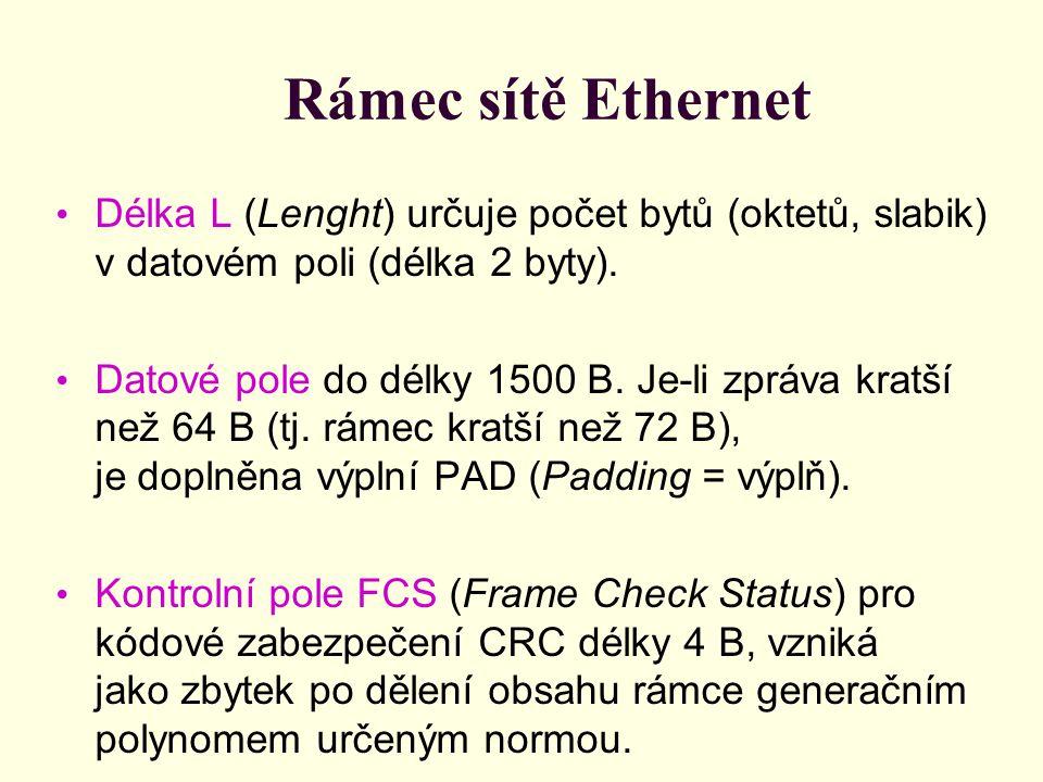 Rámec sítě Ethernet Délka L (Lenght) určuje počet bytů (oktetů, slabik) v datovém poli (délka 2 byty). Datové pole do délky 1500 B. Je-li zpráva kratš