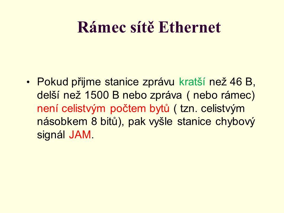 Rámec sítě Ethernet Pokud přijme stanice zprávu kratší než 46 B, delší než 1500 B nebo zpráva ( nebo rámec) není celistvým počtem bytů ( tzn.