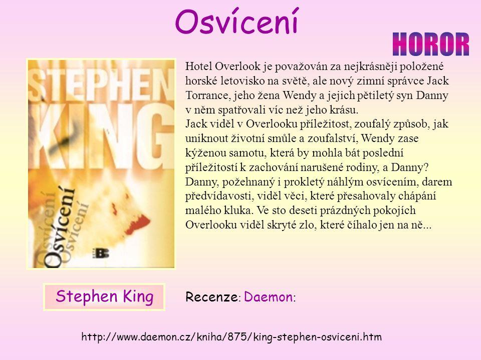 Hotel Overlook je považován za nejkrásněji položené horské letovisko na světě, ale nový zimní správce Jack Torrance, jeho žena Wendy a jejich pětiletý syn Danny v něm spatřovali víc než jeho krásu.