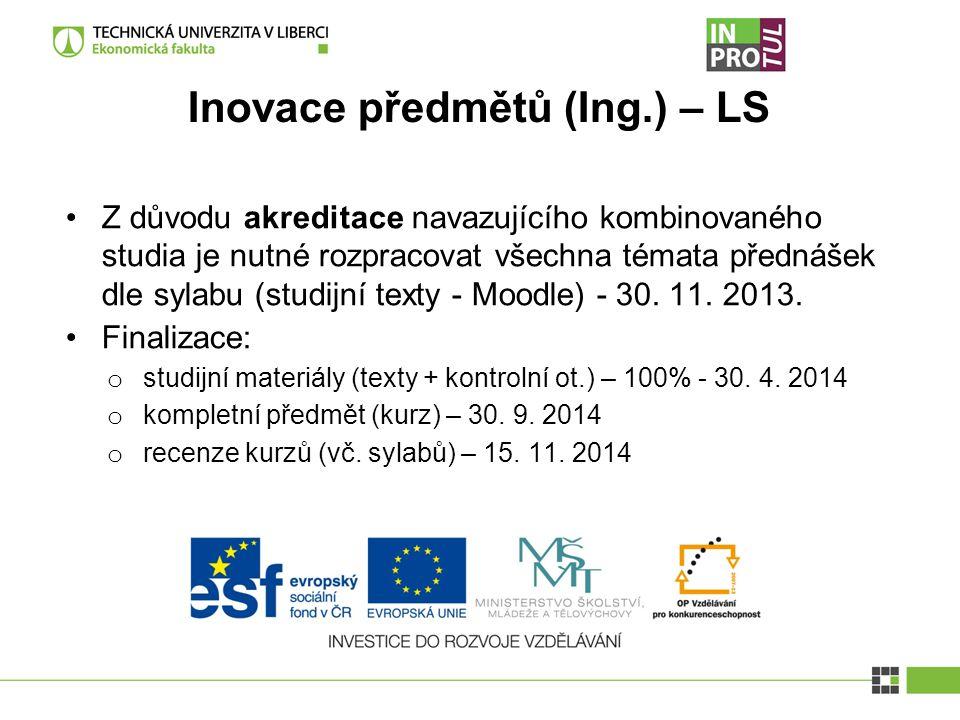 Inovace předmětů (Ing.) – LS Z důvodu akreditace navazujícího kombinovaného studia je nutné rozpracovat všechna témata přednášek dle sylabu (studijní texty - Moodle) - 30.