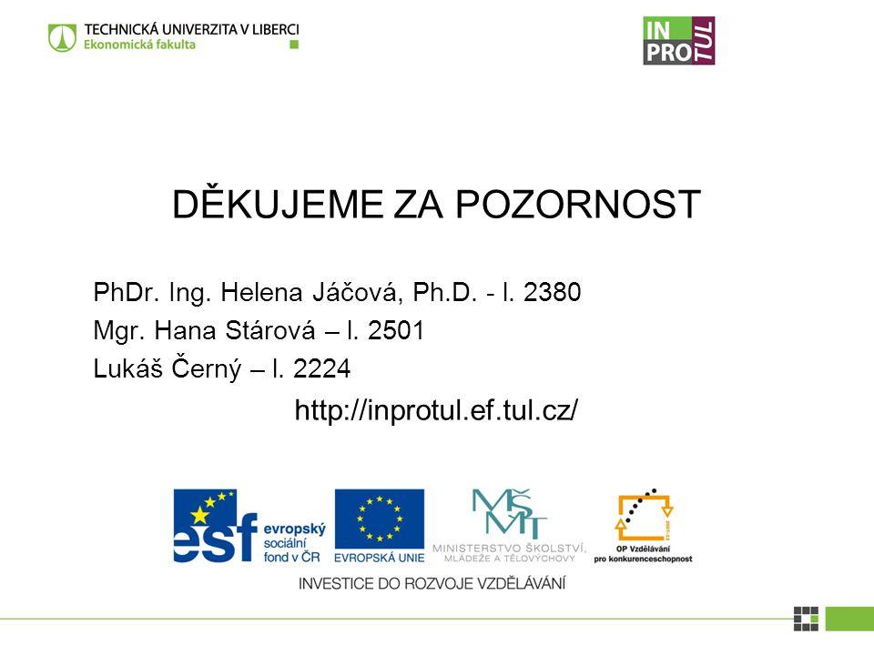 DĚKUJEME ZA POZORNOST PhDr. Ing. Helena Jáčová, Ph.D. - l. 2380 Mgr. Hana Stárová – l. 2501 Lukáš Černý – l. 2224 http://inprotul.ef.tul.cz/