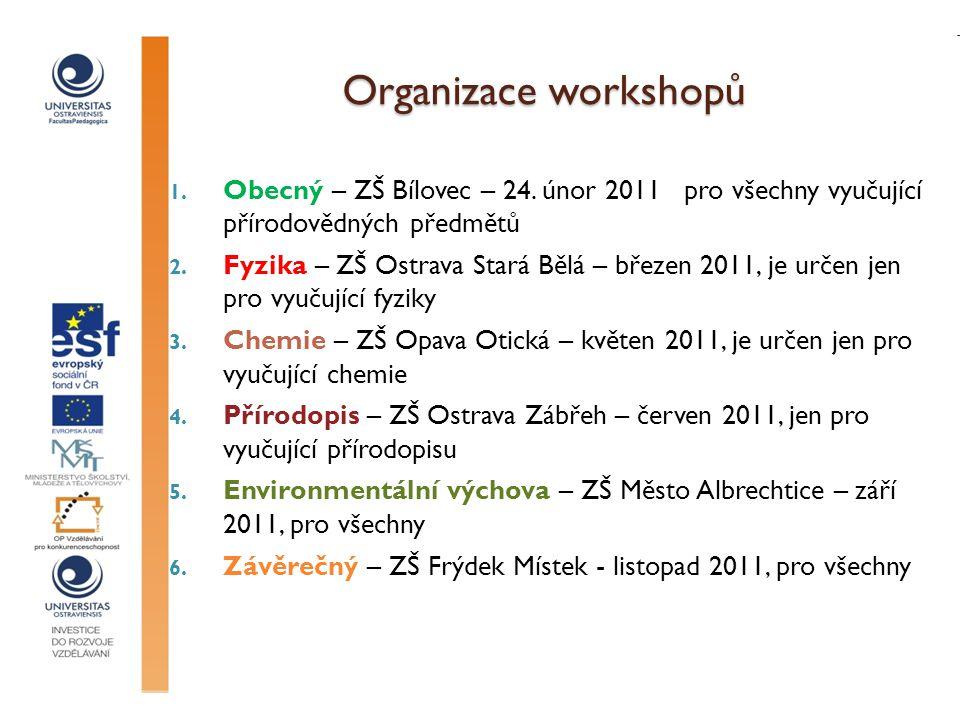Organizace workshopů 1. Obecný – ZŠ Bílovec – 24. únor 2011 pro všechny vyučující přírodovědných předmětů 2. Fyzika – ZŠ Ostrava Stará Bělá – březen 2