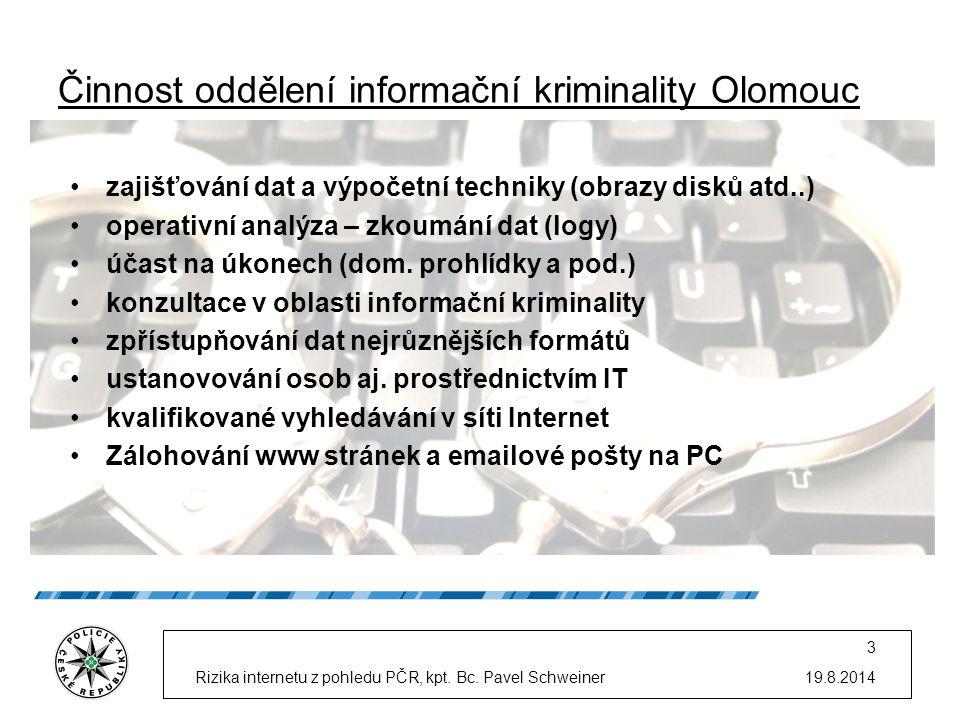 Činnost oddělení informační kriminality Olomouc 19.8.2014Rizika internetu z pohledu PČR, kpt. Bc. Pavel Schweiner 3 zajišťování dat a výpočetní techni