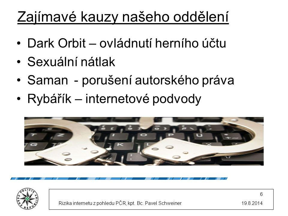 Zajímavé kauzy našeho oddělení Dark Orbit – ovládnutí herního účtu Sexuální nátlak Saman- porušení autorského práva Rybářík – internetové podvody 19.8