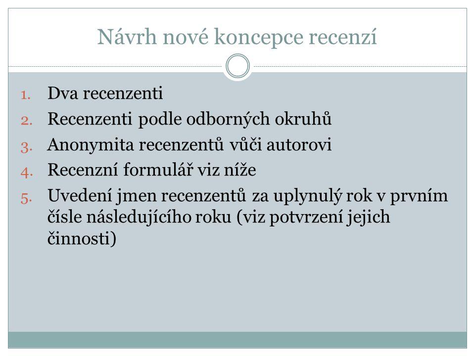 Návrh nové koncepce recenzí 1. Dva recenzenti 2. Recenzenti podle odborných okruhů 3. Anonymita recenzentů vůči autorovi 4. Recenzní formulář viz níže