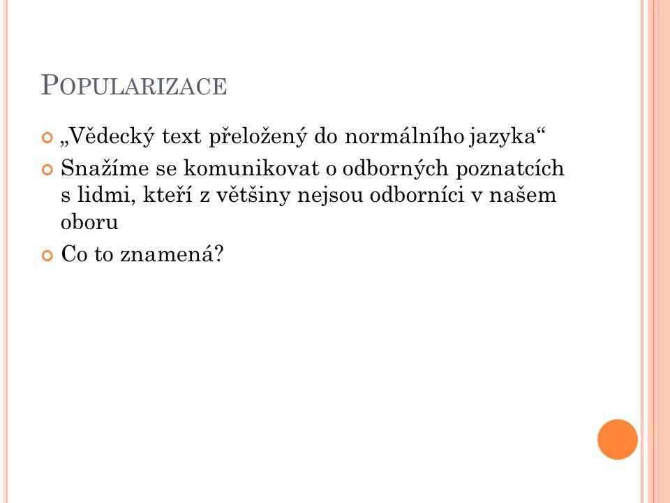 P OPULARIZACE Ale.