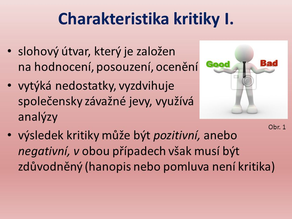 Charakteristika kritiky I.