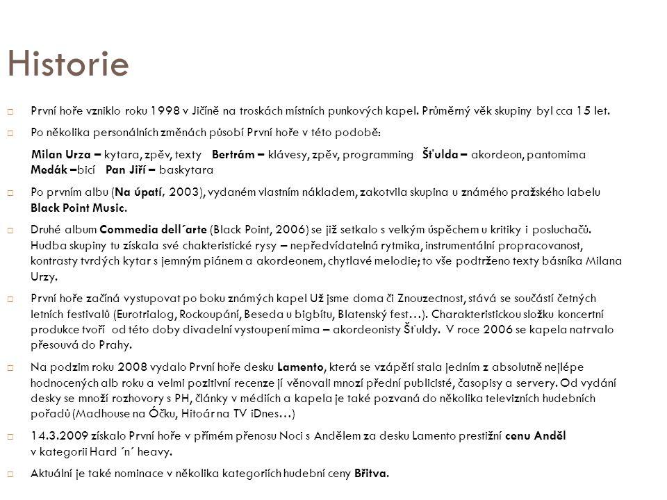 "Diskografie ""Na úpatí 2003 vlastní náklad ""Commedia dell´arte 2006 Black Point Music ""Lamento 2008 Black Point Music"